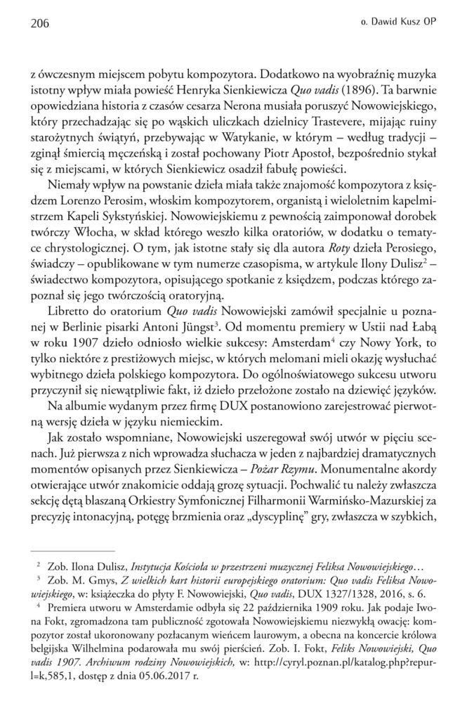 Feliks Nowowiejski, Quo vadis – recenzja płyty